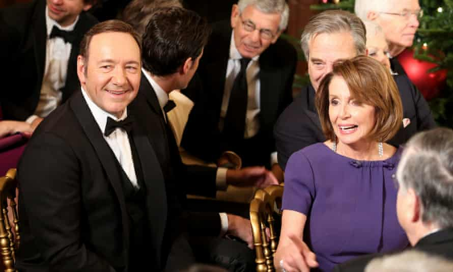 Kevin Spacey and Nancy Pelosi at a White House event for the award honorees.