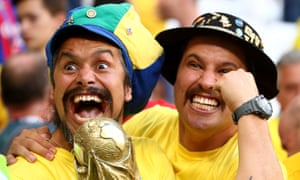 The Brazil fans in the Samara Arena are pretty happy too.