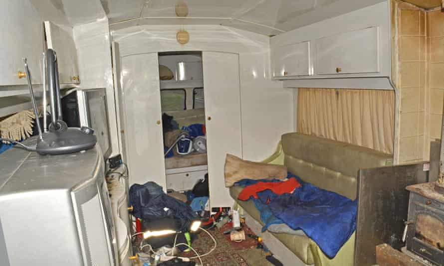 The interior of a caravan in which some of the gang's workers were forced to live