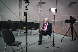 Re-elected Labour leader Jeremy Corbyn preparing for TV interviews.