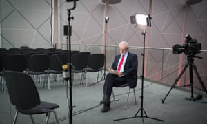 Jeremy Corbyn waiting for a TV interview.