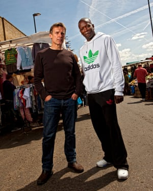 Ronan Bennett and script consultant Gerry Jackson in Ridley Road Market, Dalston, one of Top Boy's shooting locations.