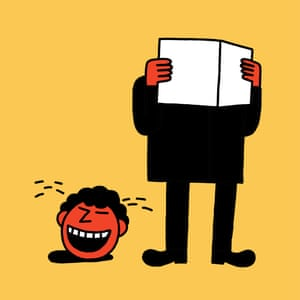 Illustration by Leon Edler of a man laughing his head off reading a book.