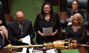 Jill Gallagher AO (centre) in Victorian parliament in March.
