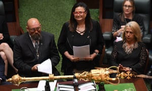 Victorian Treaty Advancement Commissioner addressing parliament in March. The commission is conducting community consultation this week.