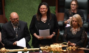 Jill Gallagher addresses Victoria's parliament in March after the Indigenous treaty legislation was introduced.