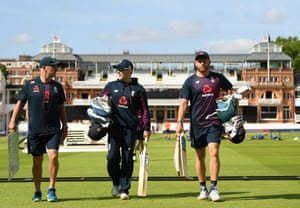 Eoin Morgan with Jonny Bairstow and batting coach Graham Thorpe at Lord's on Saturday.