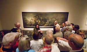 Strange encounter … a guide initiates another Prado tour group in the Black Paintings.