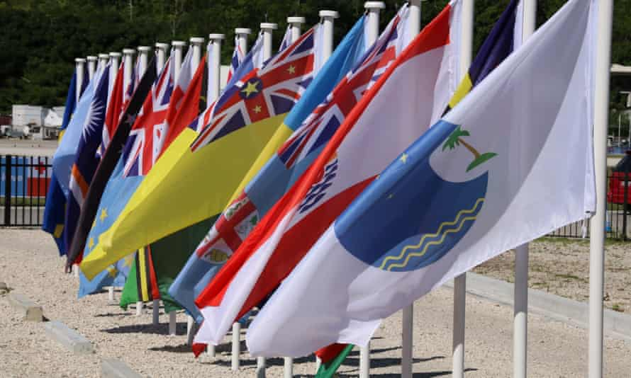 The flags of the nations of the Pacific Islands Forum, and of the forum itself. The forum has lost all of the Micronesian members - nearly one-third of the total - over a fractious selection for secretary-general.
