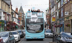 The Brexit party campaign bus on Middleton Street in Llandrindod Wells.
