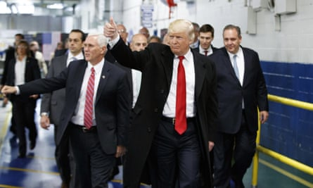 Donald Trump visiting a factory in Indianapolis in December