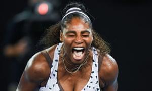 Serena Williams celebrates a point against Tamara Zidansek.