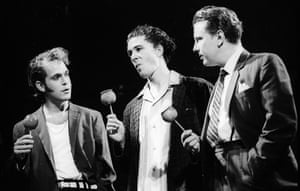 Tom Hollander as Baby, Aidan Gillen as Skinny and David Westhead as Mickey in Mojo by Jez Butterworth, directed by Ian Rickson, in 1995