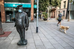 A man wearing a face mask in Barcelona last week