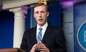 Jake Sullivan speaking at a press briefing in Washington.