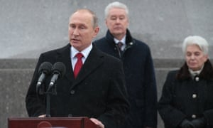 Vladimir Putin speaks at the unveiling ceremony in Moscow