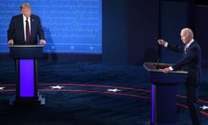 Donald Trump and Joe Biden in last month's TV debate.