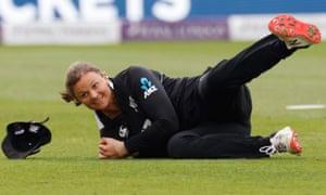 New Zealand's Suzie Bates takes a catch to dismiss England's Tammy Beaumont.