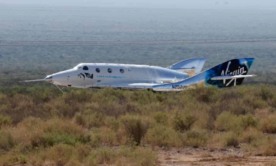 Virgin Galactic's passenger rocket plane VSS Unity lands after reaching the edge of space above Spaceport America.