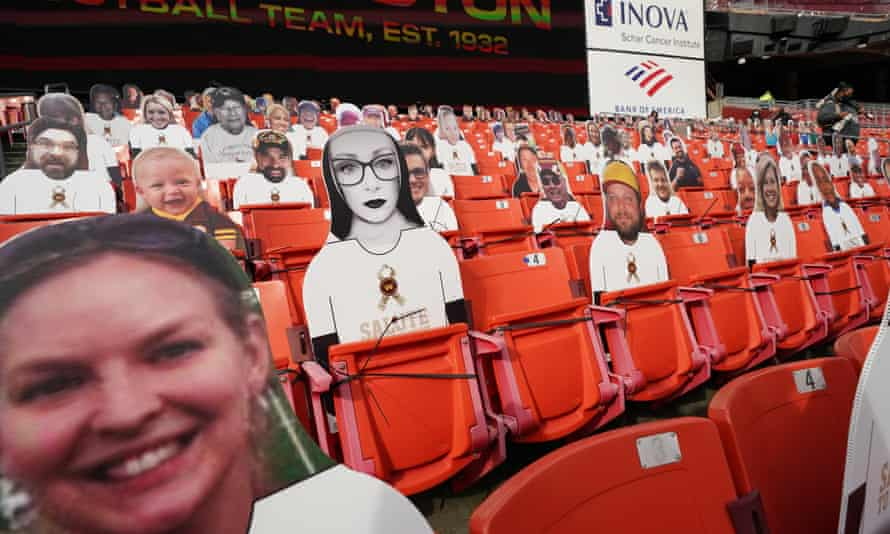 Fan cutouts in the stadium before the start of an NFL game between the Cincinnati Bengals and Washington Football Team.