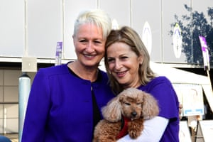 Independent MP for Wentworth Dr Kerryn Phelps (left) with her wife Jackie Stricker-Phelps and their dog Lulu.