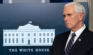 Mike Pence at a coronavirus taskforce briefing at thie White House on 8 April.