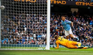 Manchester City's Gabriel Jesus scores their fourth goal.