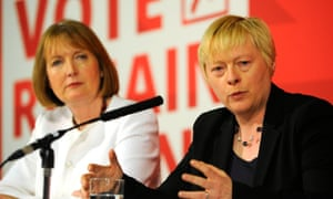 Harriet Harman (left) and shadow business secretary Angela Eagle speak about why women are better off in the EU at a Labour event this morning.