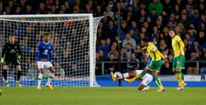 Josh Murphy curls home the Canaries' second.