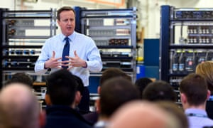 David Cameron speaks to factory staff at the Siemens Chippenham plant after the EU proposals are announced.