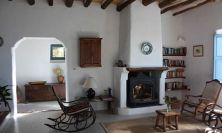 Las Chimeneas sitting room with fireplace