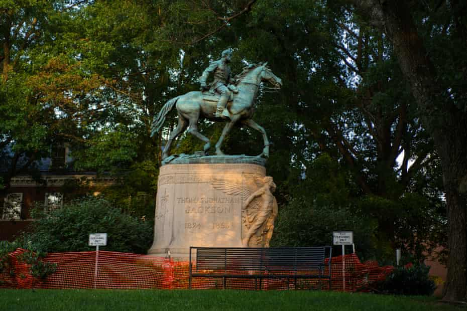 A statue of Gen Thomas J 'Stonewall' Jackson stands in Charlottesville.