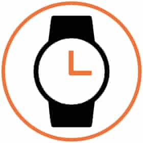 Illustration of watch in white circle with orange border