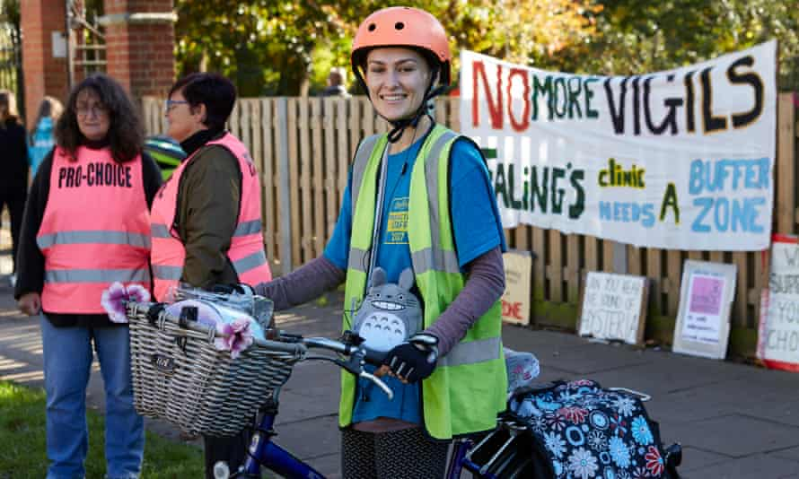 The pro-choice activist Stephanie Rayner on her bicycle