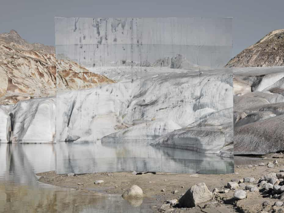 Glacier 1, 2016, by Noemie Goudal. French conceptual artist Goudal is interested in the meeting of the organic and the manmade. This work was made on the Rhône glacier, where Goudal constructed a large-scale photographic installation printed on biodegradable paper that disintegrates in water. 'All my work is about the fragility of the landscape,' she says.