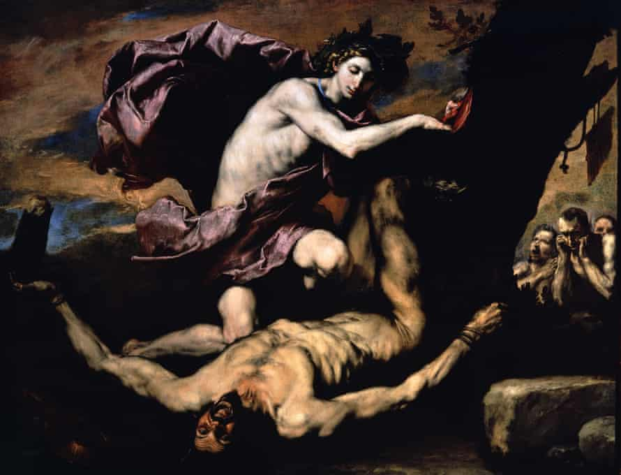 Marsyas as he is flayed by Apollo in Ribera's 1637 painting Apollo and Marsyas, which appears in Ribera: Art of Violence.