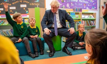 Boris Johnson visiting a primary school in Milton Keynes last month