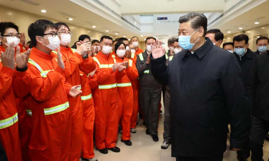 President XI at the Ningbo-Zhoushan port on Monday. 'Combating the pandemic is exactly the kind of challenge that requires the two nations to come together.'