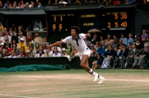Arthur Ashe sets off to reach a return during the 1975 Men's final where Ashe defeated the defending champion Jimmy Connors 6–1, 6–1, 5–7, 6–4