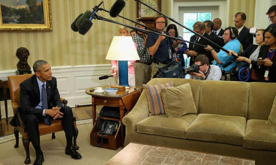 President Barack Obama talks to the media about the USA Freedom Act at the White House on 29 May 2015.