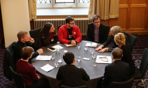 Theresa May meets with young farmers and students at Queen's University in Belfast.
