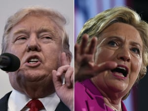(COMBO) This combination of pictures created on November 04, 2016 shows US Republican presidential nominee Donald Trump in Atkinson, New Hampshire on November 4, 2016 and US Democratic presidential nominee Hillary Clinton in Raleigh, North Carolina, on November 3, 2016. With only days to go until Election Day, Hillary Clinton and Donald Trump were barnstorming battleground states. / AFP PHOTO / MANDEL NGAN AND Jewel SAMADMANDEL NGAN,JEWEL SAMAD/AFP/Getty Images