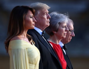 May and her husband stand alongside the Trumps outside Blenheim Palace near Oxford on Thursday