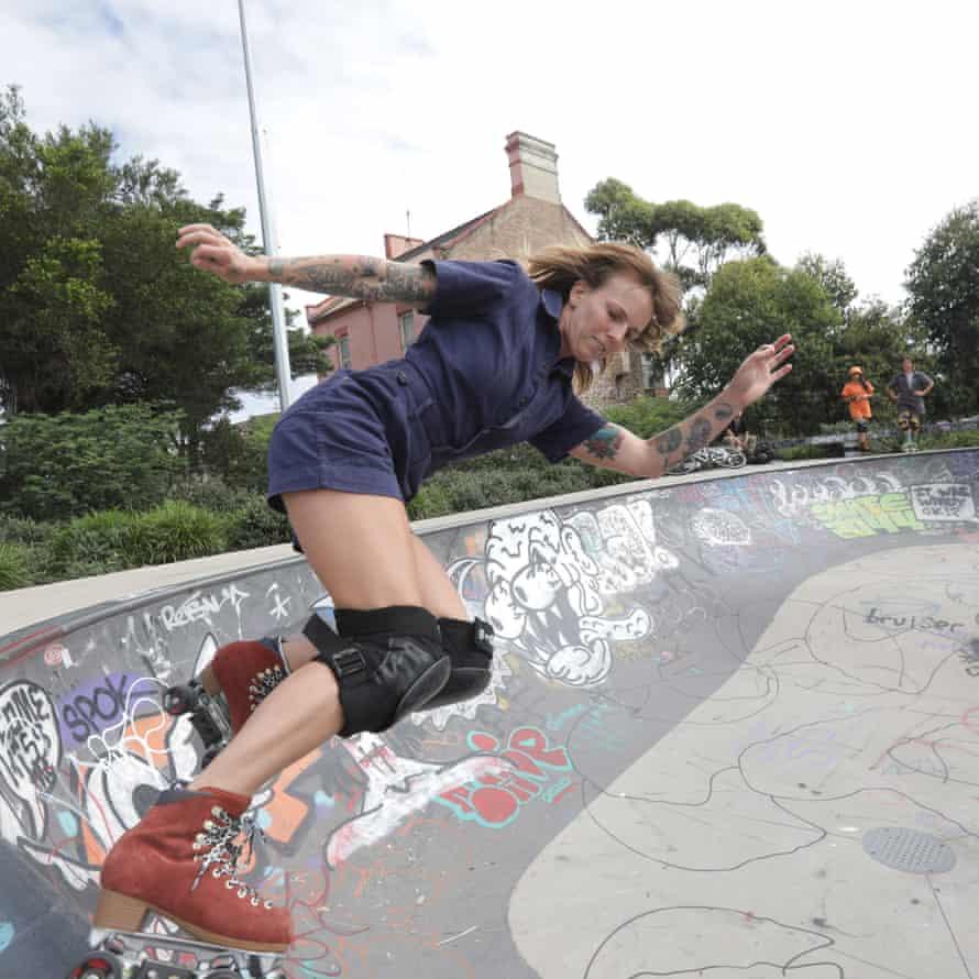 Sam Trayhurn in action at the Sydenham skate park
