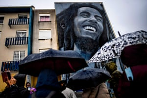 A mural by Portuguese artist Odeith depicting Bob Marley