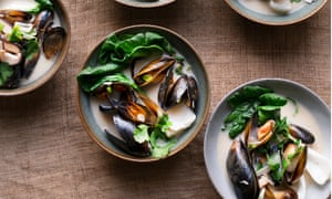'Soup that is clear and bright, but with enough clout to warm the soul': mussel and mushroom broth.