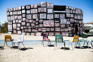 An art installation is displayed in the maze like open museum of East Jesus in Slab City, near Bombay Beach, south of Palm Springs, California, USA, 18 March 2019. Founded in 2015 in the partly deserted town, the Biennale art, music, and philosophy event runs for three days annually. The Bombay Beach Biennale exhibits art installations and aims at drawing attention and life to the Salton Sea area, once a flourishing area. The 2019 Bombay Beach Biennale took place from 22 to 24 March.