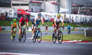 Quiet revolution: riders take to the circuit more normally used for motorsports.