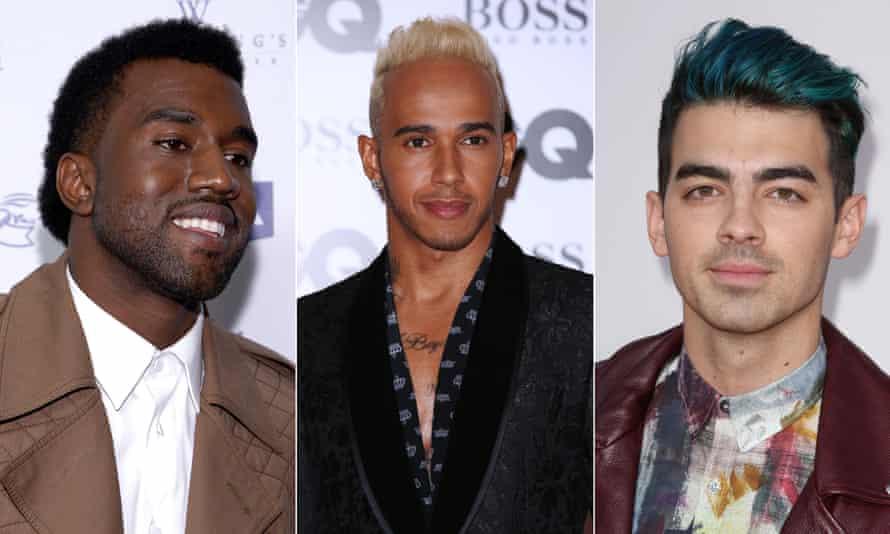 Cutting it… Kanye West, Lewis Hamilton and Joe Jonas.