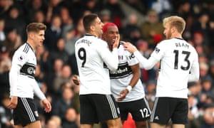 Ryan Babel celebrates after scoring Fulham's winner against Cardiff.